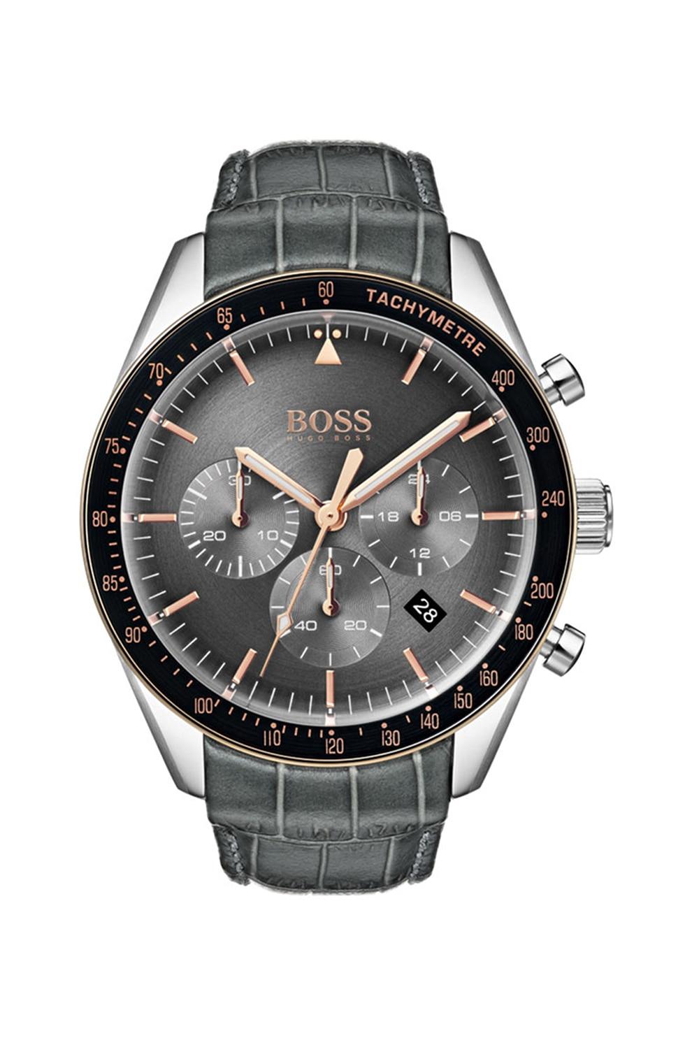 Fotografie Boss Hugo Boss, Ceas cronograf cu o curea de piele, Gri