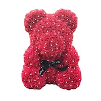 Rózsa maci csillogó kristályokkal, örök virág maci - piros 40 cm