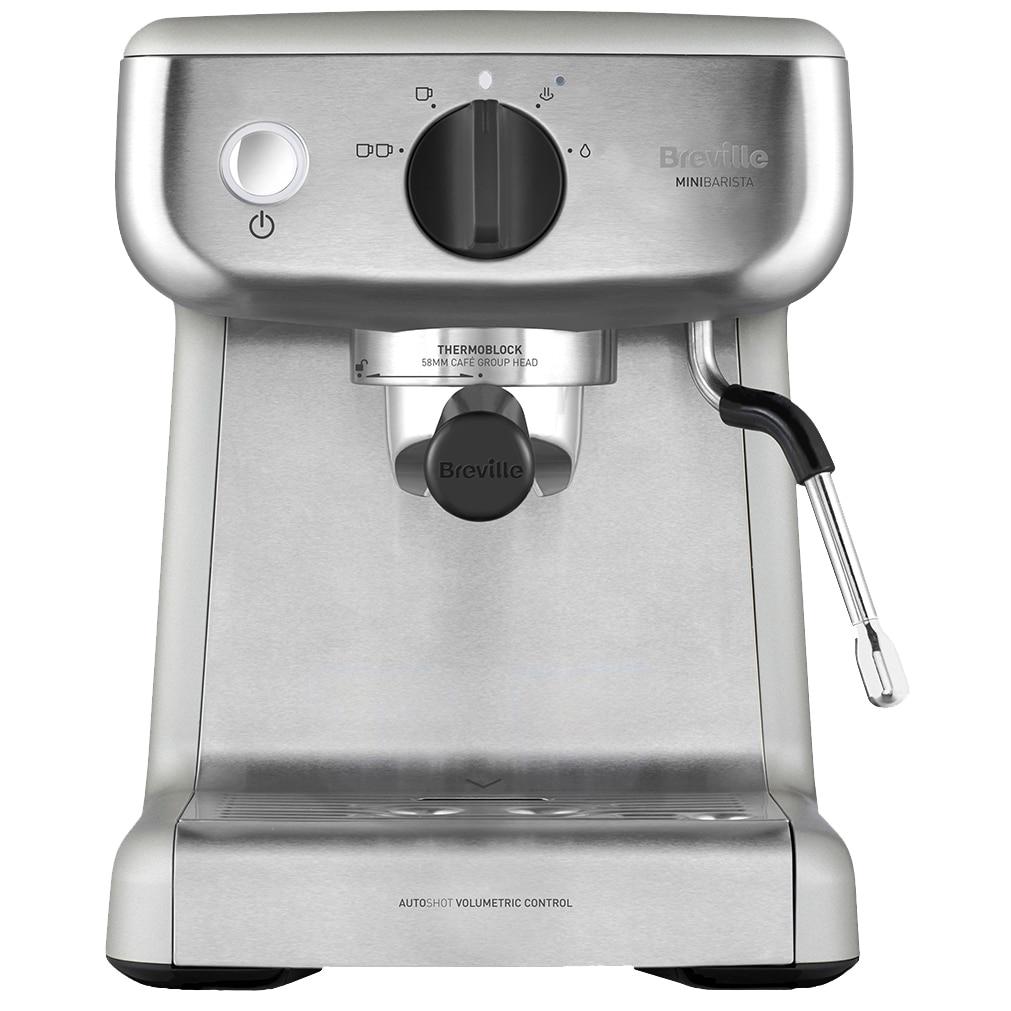 Fotografie Espressor manual Breville Barista Mini VCF125X-01, 15 bari, 2 l, Recipient detasabil lapte 0.35 l, Silver