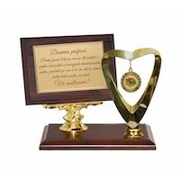 Trofeu Invatatoare/Profesoara/Profesor/Diriginte maro cu auriu, 3 componente, din lemn, metal si material plastic