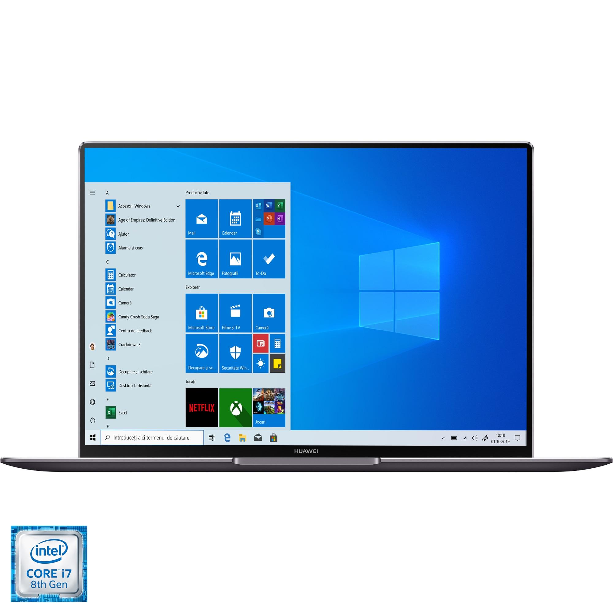 "Fotografie Laptop ultraportabil Huawei MateBook X Pro cu procesor Intel® Core® i7-8565U pana la 4.60 GHz Whiskey Lake, 13.9"", 3K, Touch, 8GB, 512GB SSD, NVIDIA GeForce MX250 2GB, Windows 10 Home, Grey"