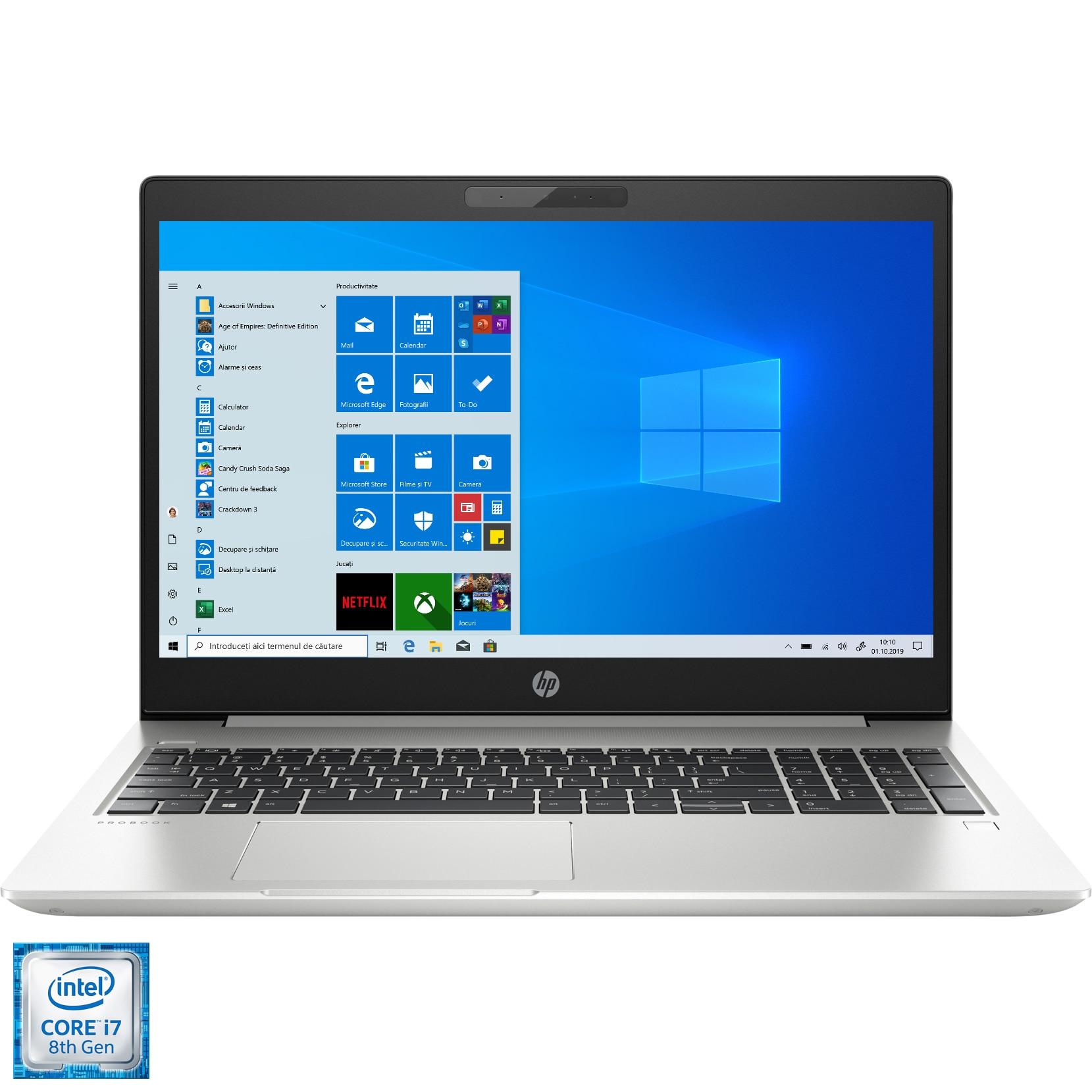 "Fotografie Laptop HP ProBook 450 G6 cu procesor Intel® Core™ i7-8565U pana la 4.60 GHz Whiskey Lake, 15.6"", Full HD, 8GB, 1TB HDD, NVIDIA GeForce MX130 2GB, Windows 10 Pro, Silver"
