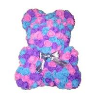 Rózsa maci, örök virág maci - lila-rózsaszín-kék 40 cm