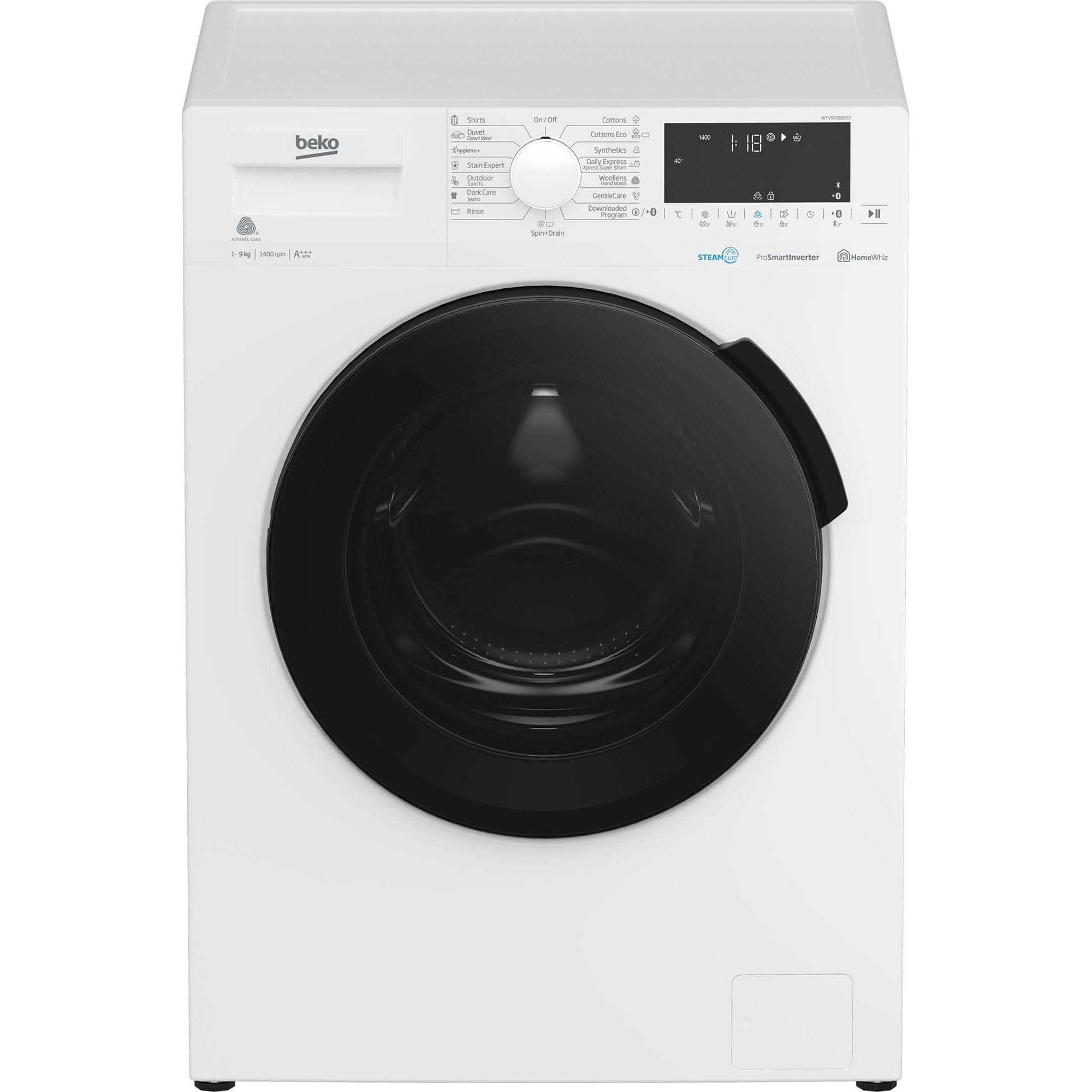 Fotografie Masina de spalat rufe Beko WTV9716DXST, 9 kg, 1400 RPM, Clasa A+++, HomeWhiz, conectare Bluetooth, SteamCure, AddGarment, Motor ProSmart Inverter, Alb