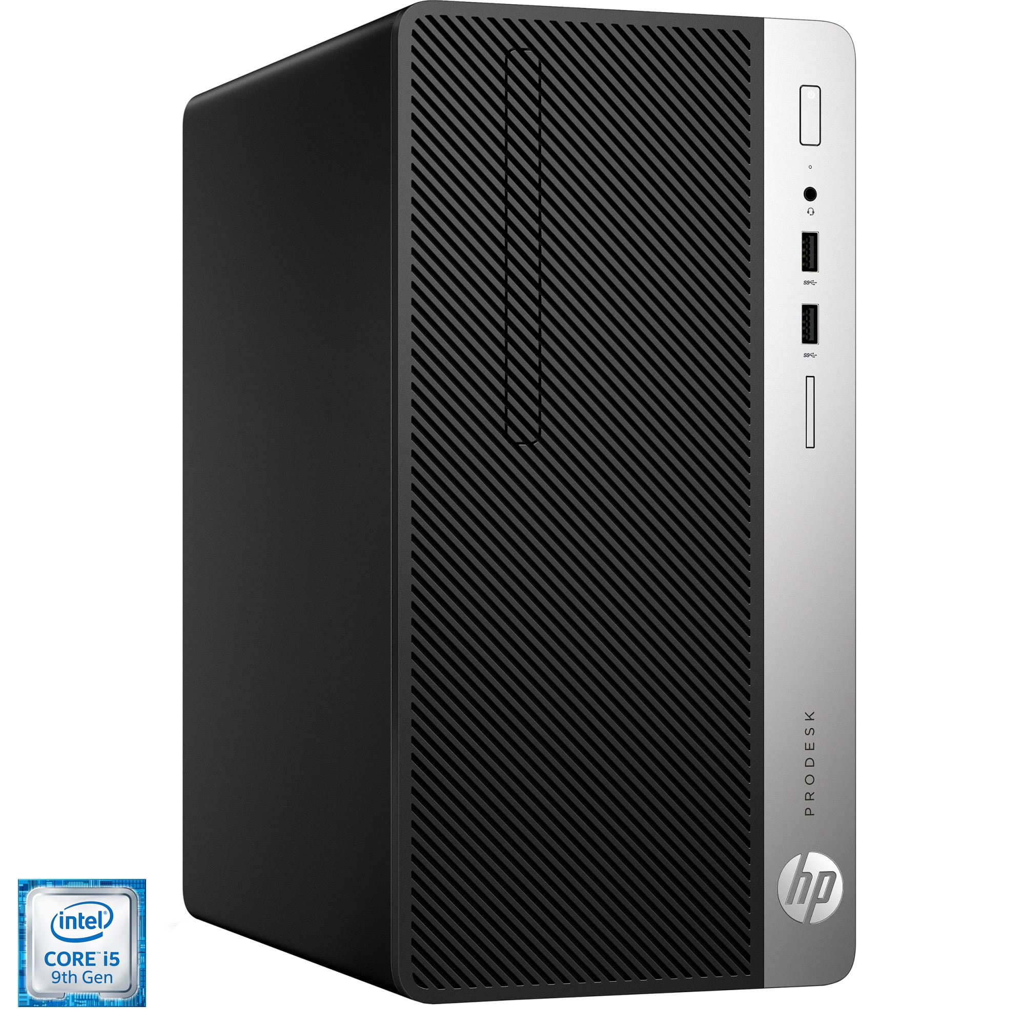 Fotografie Sistem Desktop PC HP ProDesk 400 G6 MT cu procesor Intel® Core™ i5-9400F pana la 4.10 GHz, 8GB DDR4, 512 GB PCIe® NVMe™ SSD, AMD Radeon R7 430 2GB, Microsoft Windows 10 Pro, Mouse + Tastatura