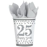 25. Anniversary, Házassági évforduló papír pohár 8 db-os 266 ml DPA9902200