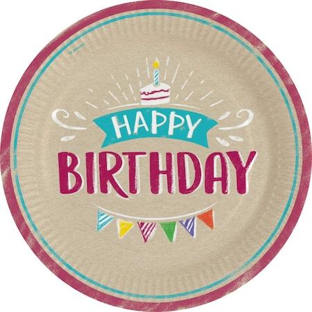 Happy Birthday Papírtányér 8 db-os 23 cm DPA9904389
