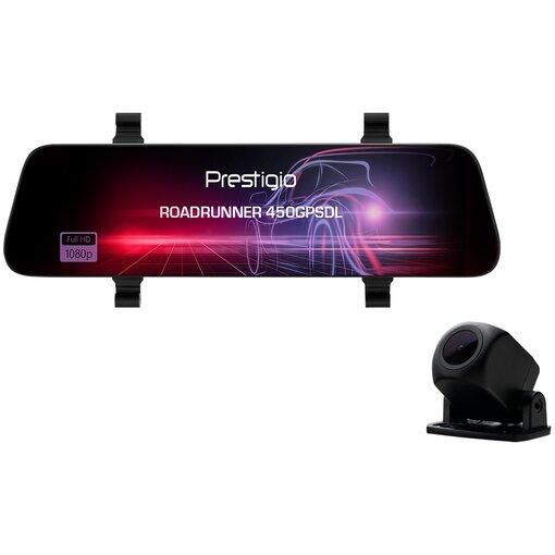 Fotografie Prestigio RoadRunner 450GPSDL, 9.66'' IPS (1280x320) 2.5D curved touch display, Dual camera: front - FHD 1920x1080@30fps, HD 1280x720@30fps, rear - VGA 1920x1080@30fps, MSC8339D, 2 MP CMOS SC2363