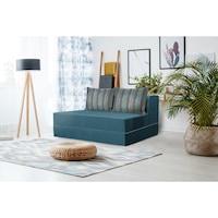 Разгъваемо канапе Urban Living Bedora, тюркоаз / многоцветни райета, 136 x 80 x 40 см