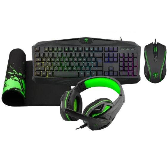 Fotografie Kit gaming T-Dagger Legion 4 in 1, tastatura, mouse, casti, mousepad Lava M