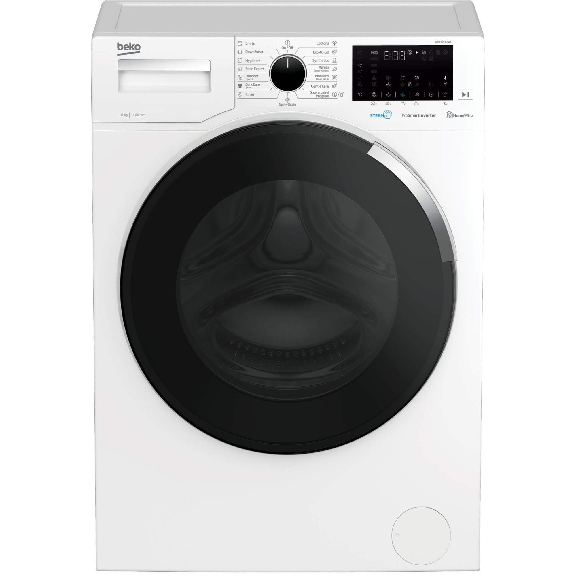 Fotografie Masina de spalat rufe Beko WUE8746XWST, 8 kg, 1400 RPM, Clasa C, HomeWhiz, Bluetooth Remote Control, SteamCure, Motor ProSmart Inverter, Alb