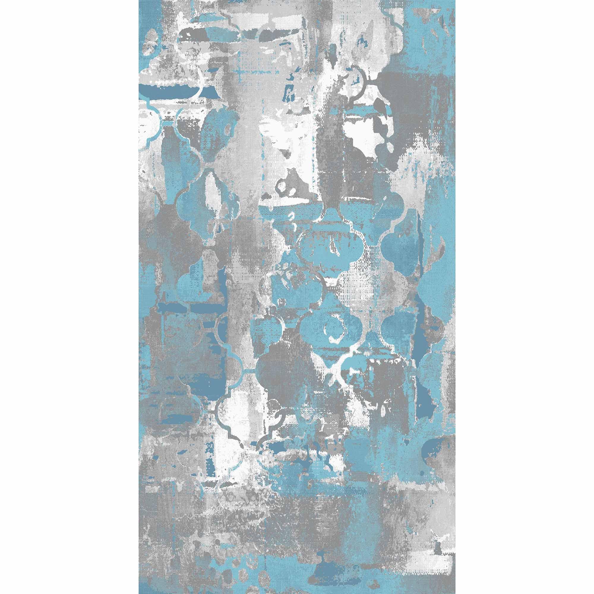 Fotografie Covor cu print digital Kring Luna, 80x150 cm, 60% bumbac + 40% poliester, Albastru/Gri