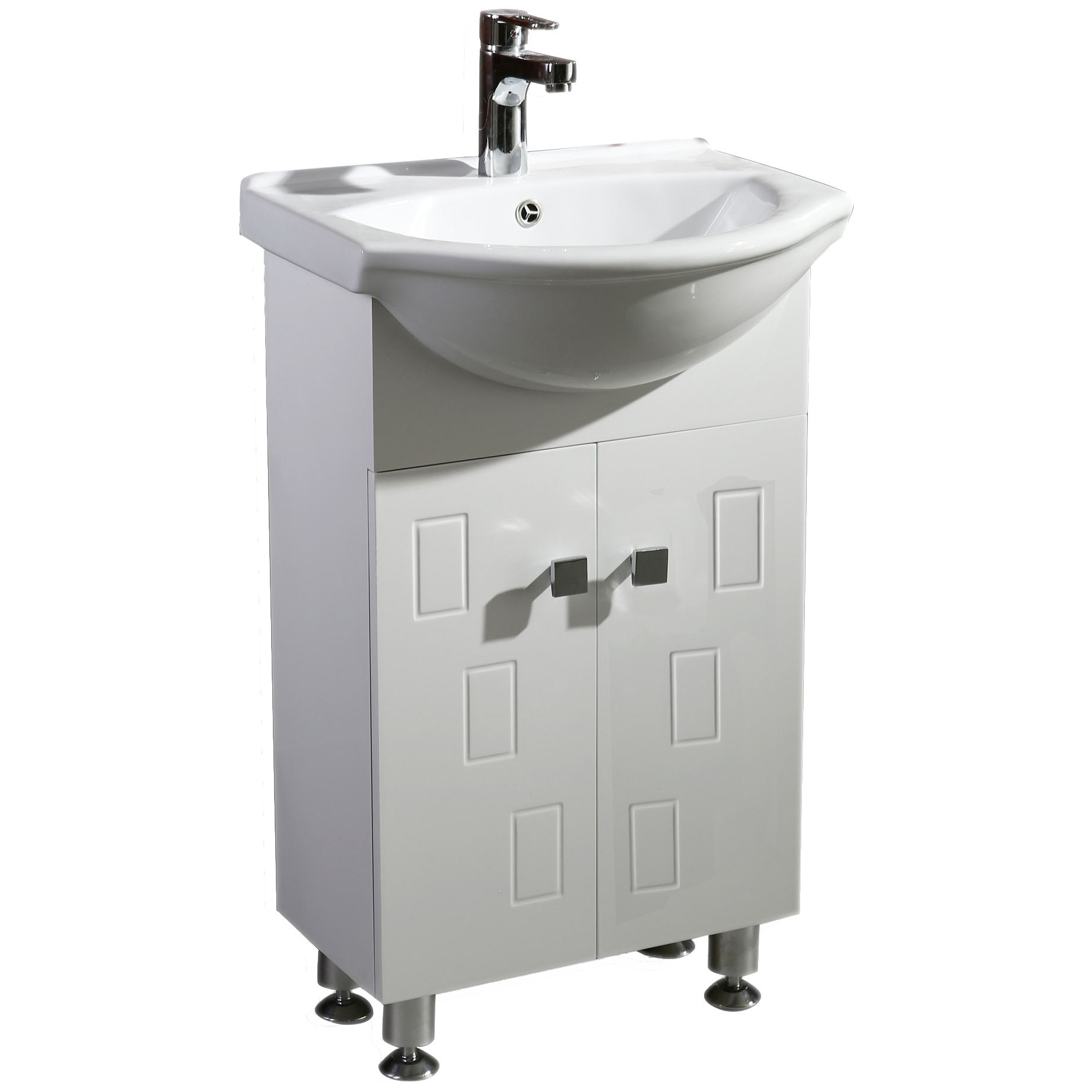 Fotografie Baza mobilier Inter Ceramic, inchidere soft, PVC cu lavoar ceramic, Alb