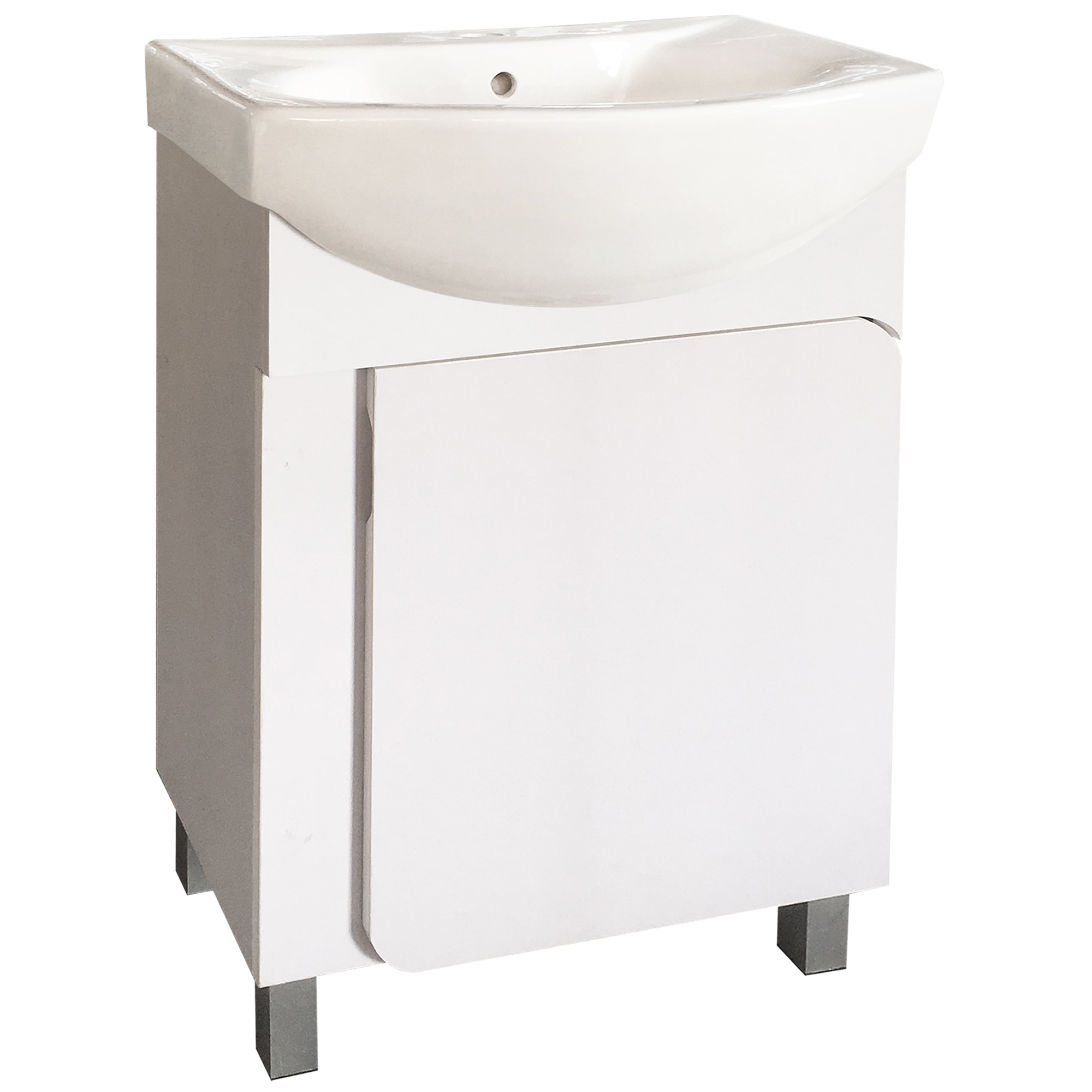 Fotografie Baza mobilier Inter Ceramic, PVC, inchidere soft, cu lavoar din portelan, Alb