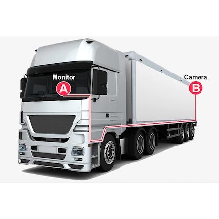 Set Monitor auto 2 camere metalice IR pentru tiruri, autocare, camioane