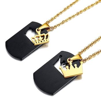 Nemesacél Queen - King páros korona motívumos nyaklánc, fekete-arany