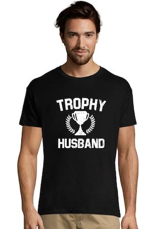 """Tricou Barbat , Personalizat """"Trophy Husband"""", Negru"""