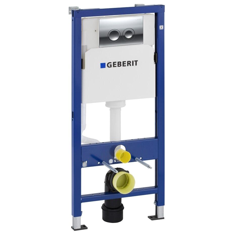 Fotografie Set rezervor incastrat WC Geberit Prepack Delta 21, Cadru + Bara de sus + Sistem de fixare + Clapeta, Crom