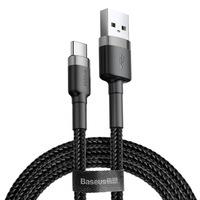Baseus Cafule Kábel tartós nylon fonott USB / USB - C QC3.0 2A 2M fekete - szürke (CATKLF - CG1)