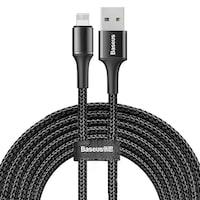 Baseus Halo adatkábel tartós nylon fonott USB / Lightning LED-es 2A fekete 3m (CALGH-E01)adatkábel