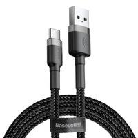 Baseus Cafule Kábel tartós nylon fonott USB / USB - C QC3.0 2A 3M fekete - szürke (CATKLF - UG1)