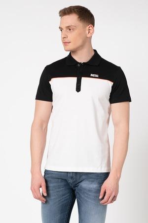 Diesel, Ralfy Colorblock dizájnos póló, fekete/fehér/neon narancssárga, XL