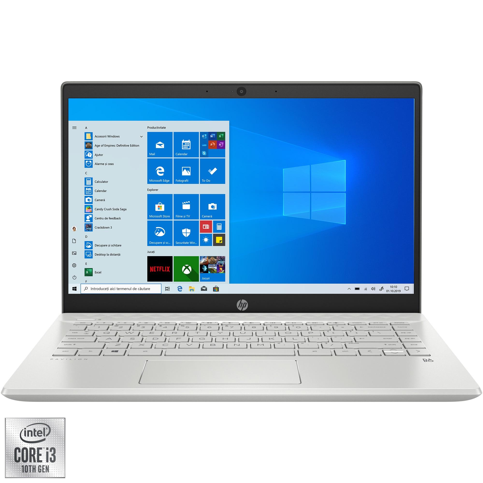 "Fotografie Laptop ultraportabil HP Pavilion 14-ce3001nq cu procesor Intel® Core™ i3-1005G1 pana la 3.40 GHz Ice Lake, 14"", HD, 4GB, 256GB SSD, Intel UHD Graphics, Windows 10 Home, Mineral Silver"