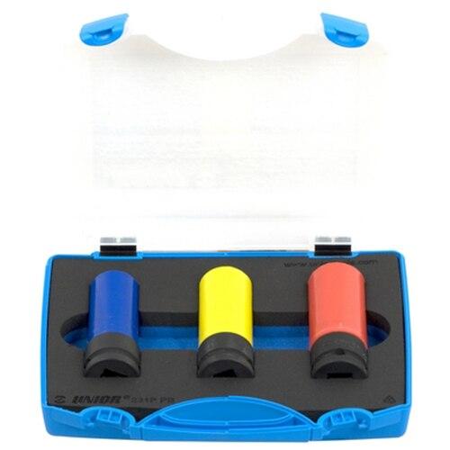 """Fotografie Trusa capete chei tubulare 1/2"""" Unior , de impact pentru jante de aliaj, 17-19mm , 3 piese, cutie plastic"""
