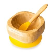 Bambusz etetőkészlet gyermekek számára, bambusz tál és kanál, Eco Rascals, sárga