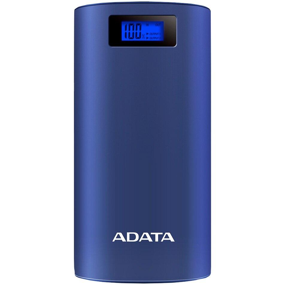 Fotografie Acumulator extern ADATA P20000D, 2xUSB, LED, Lanterna LED, 20000 mAh, Blue