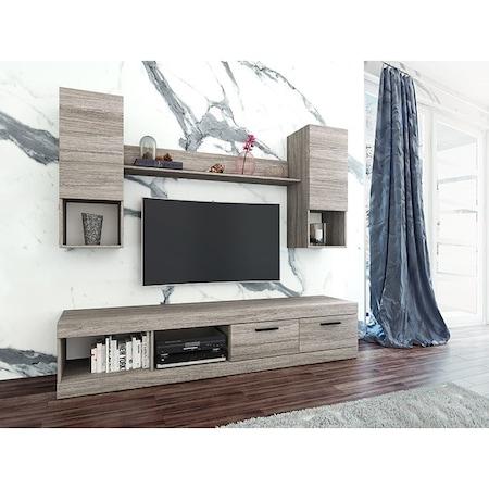 Living Irim Pascale, 200x38.5x171 cm, Stejar Stridie