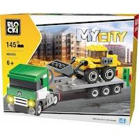 Blocki My City Építőipari játék, buldózer vontatás, 145 darab
