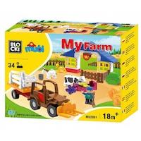 Blocki Mubi Építőipari készlet, mezőgazdasági + traktor, 34 darab