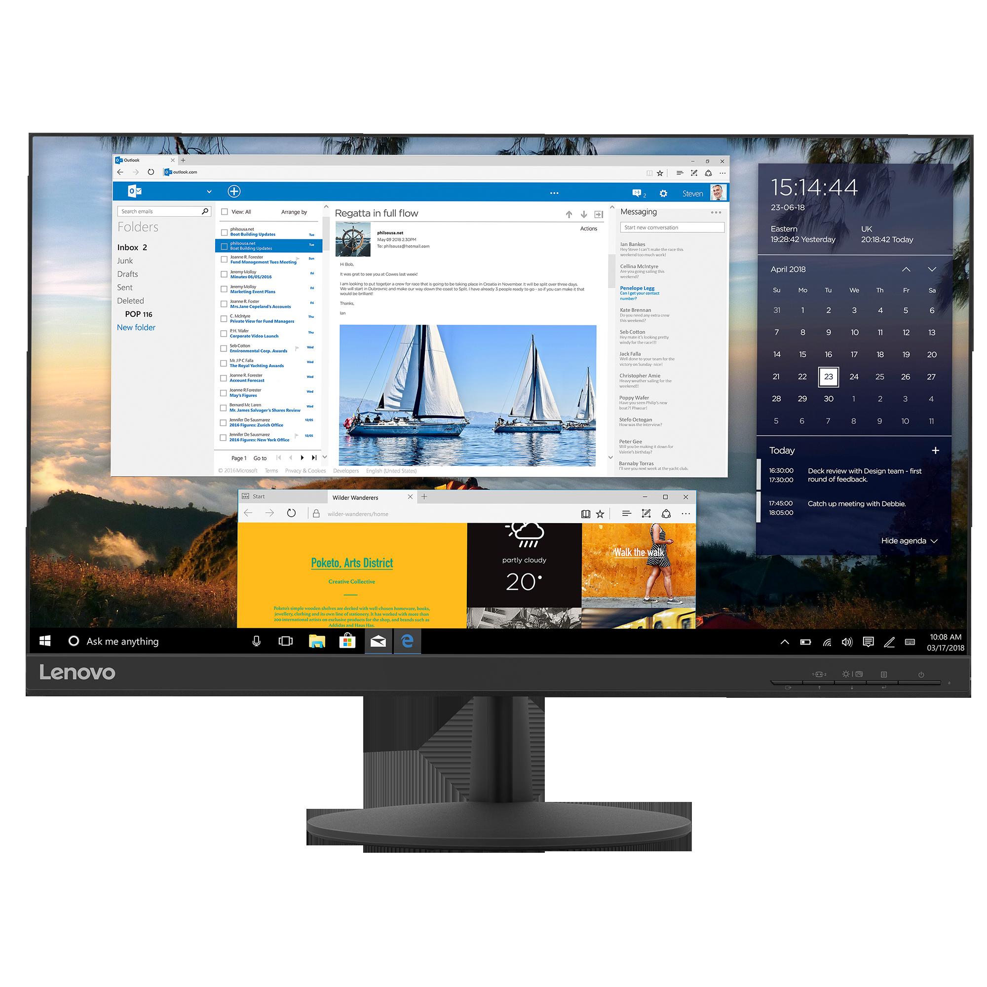 "Fotografie Monitor LED IPS Lenovo 23.8"", FrameLess, 75Hz, WQHD, DisplayPort, Negru, L24q-30"
