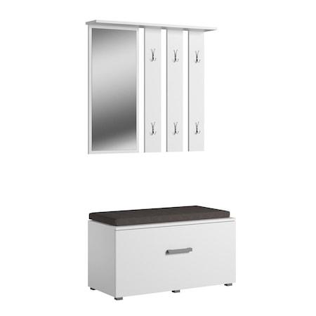 Opal előszoba bútor fali ruhaakasztó, cipőtartó és tükör pad fehér