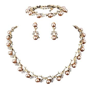 Gyönyörű mesterséges gyöngy és strassz nyaklánc, karkötő és fülbevaló esküvői ékszer szett 2.