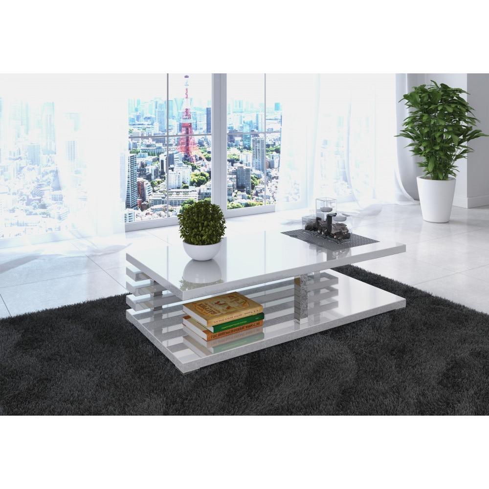 Alex dohányzóasztal magasfényű fehér XCeUj7