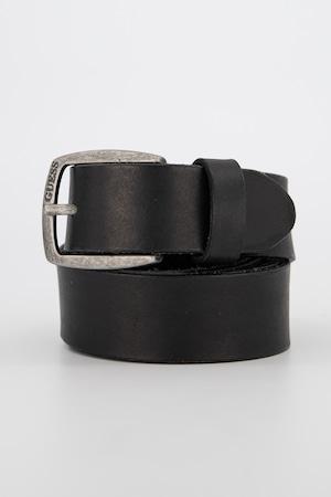 Guess, Curea din piele intoarsa cu logo, Negru, 105 Standard