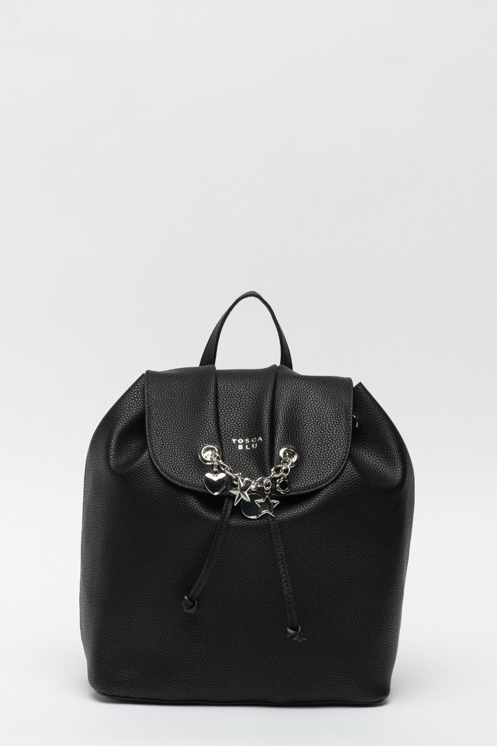 Fotografie Tosca Blu, Rucsac de piele ecologica, cu accesoriu decorativ Menta, Negru/Argintiu