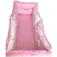 6 Darab babaágy oldalvédő rögzíthető szett 120x60 cm Deseda Rózsaszín - csillagok - cukorka