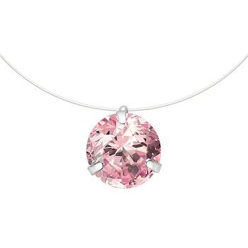 """Rózsaszín kristálykő medálos nyaklánc """"láthatatlan láncon"""""""