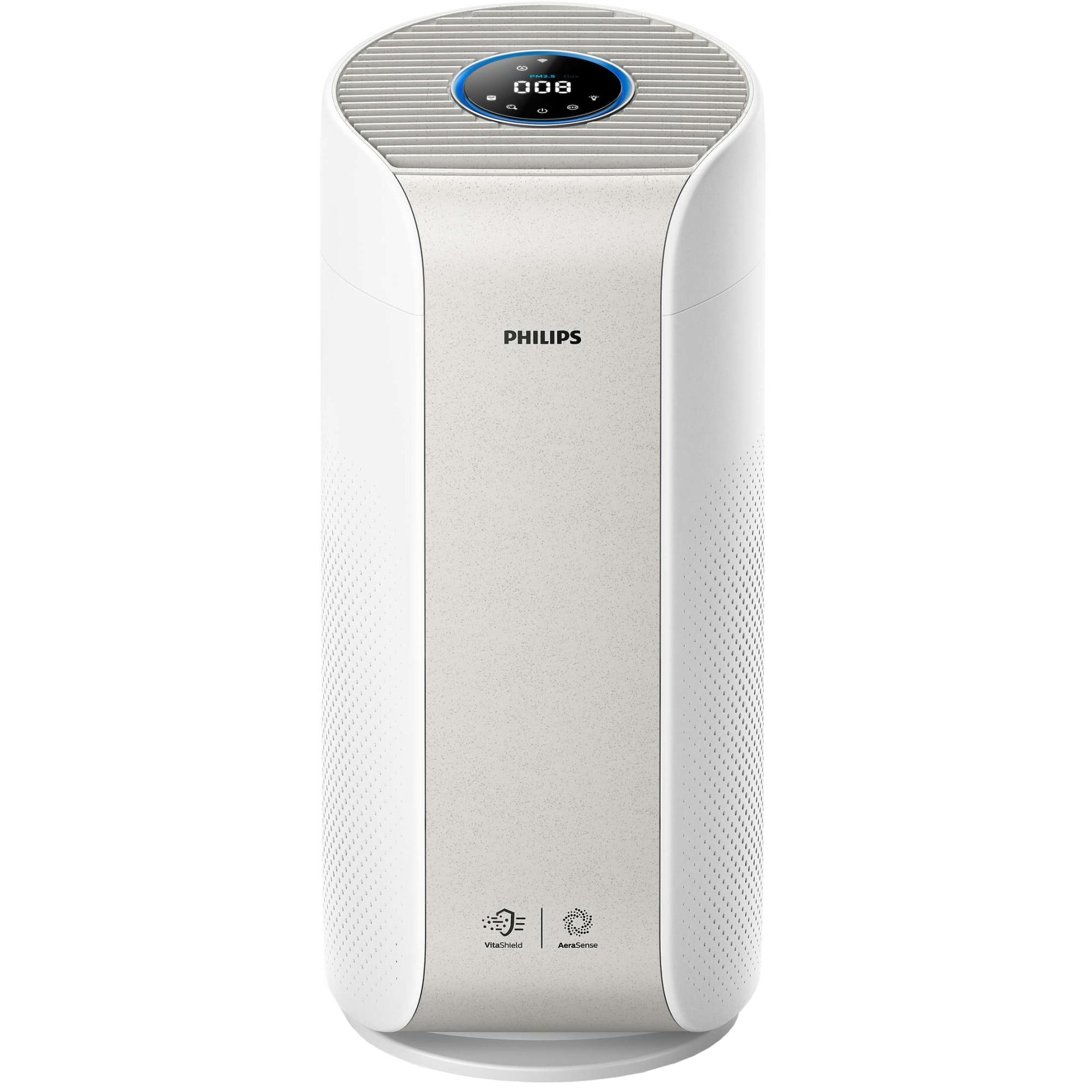 Fotografie Purificator de aer Philips AC3055/50, Tehnologie AeraSense, Tehnologie VitaShield, Feedback real privind calitatea aerului, Conectivitate Bluetooth, 3 moduri automate, afisaj digital, Senzor PM2,5, Alb