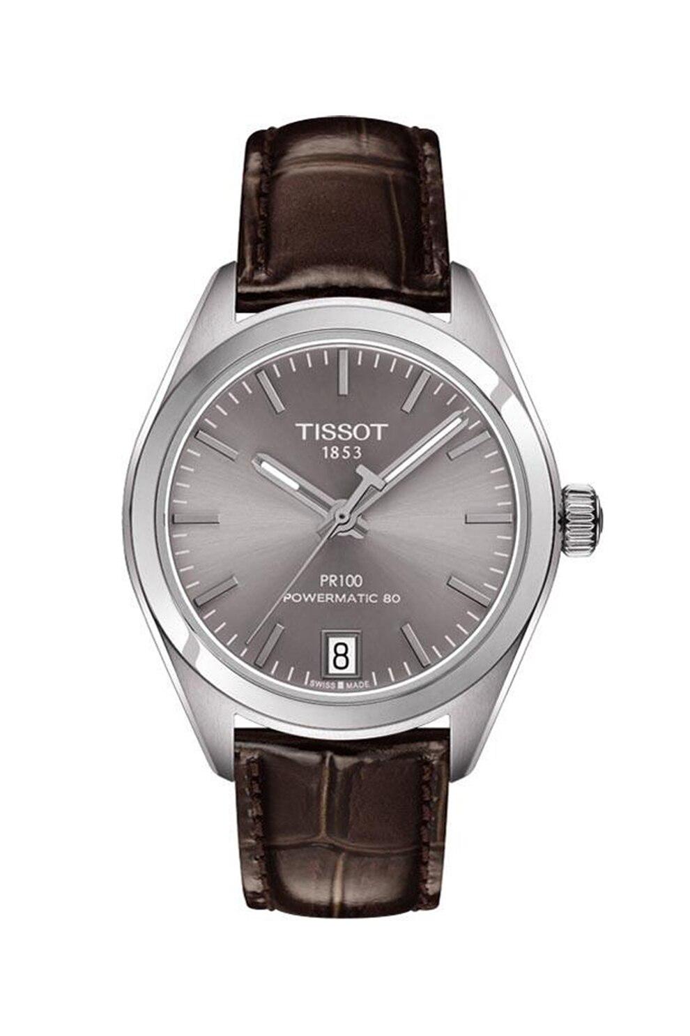 Fotografie Tissot, Ceas analog cu o curea cu aspect de piele de crocodil Powermatic 80, Maro inchis/Argintiu