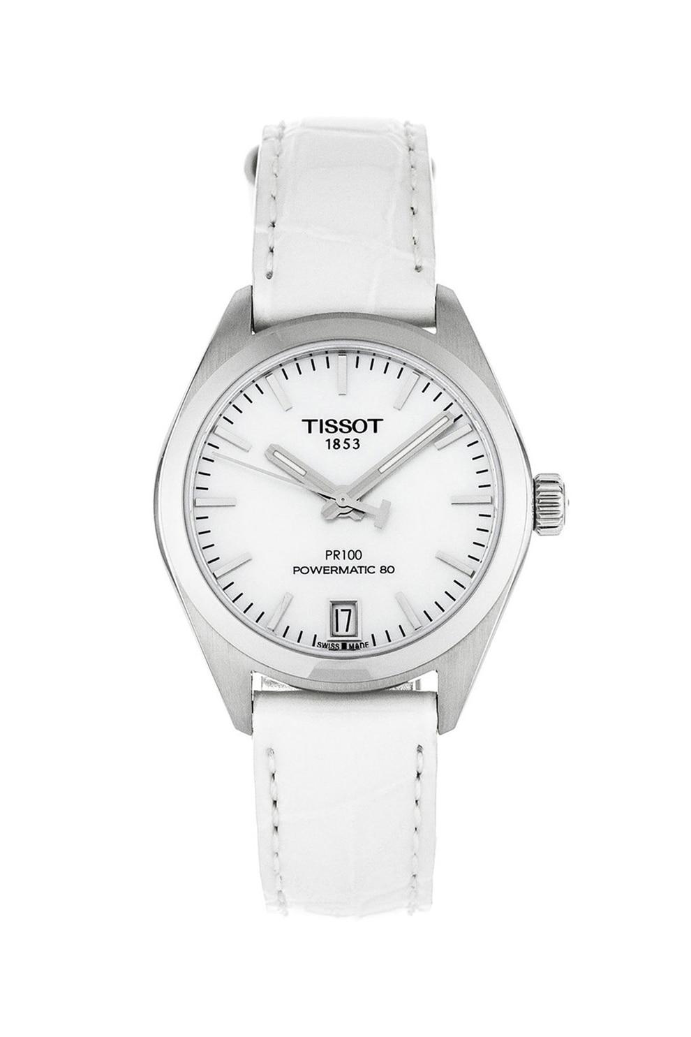 Fotografie Tissot, Ceas analog cu o curea din piele Powermatic 80, Alb/Argintiu