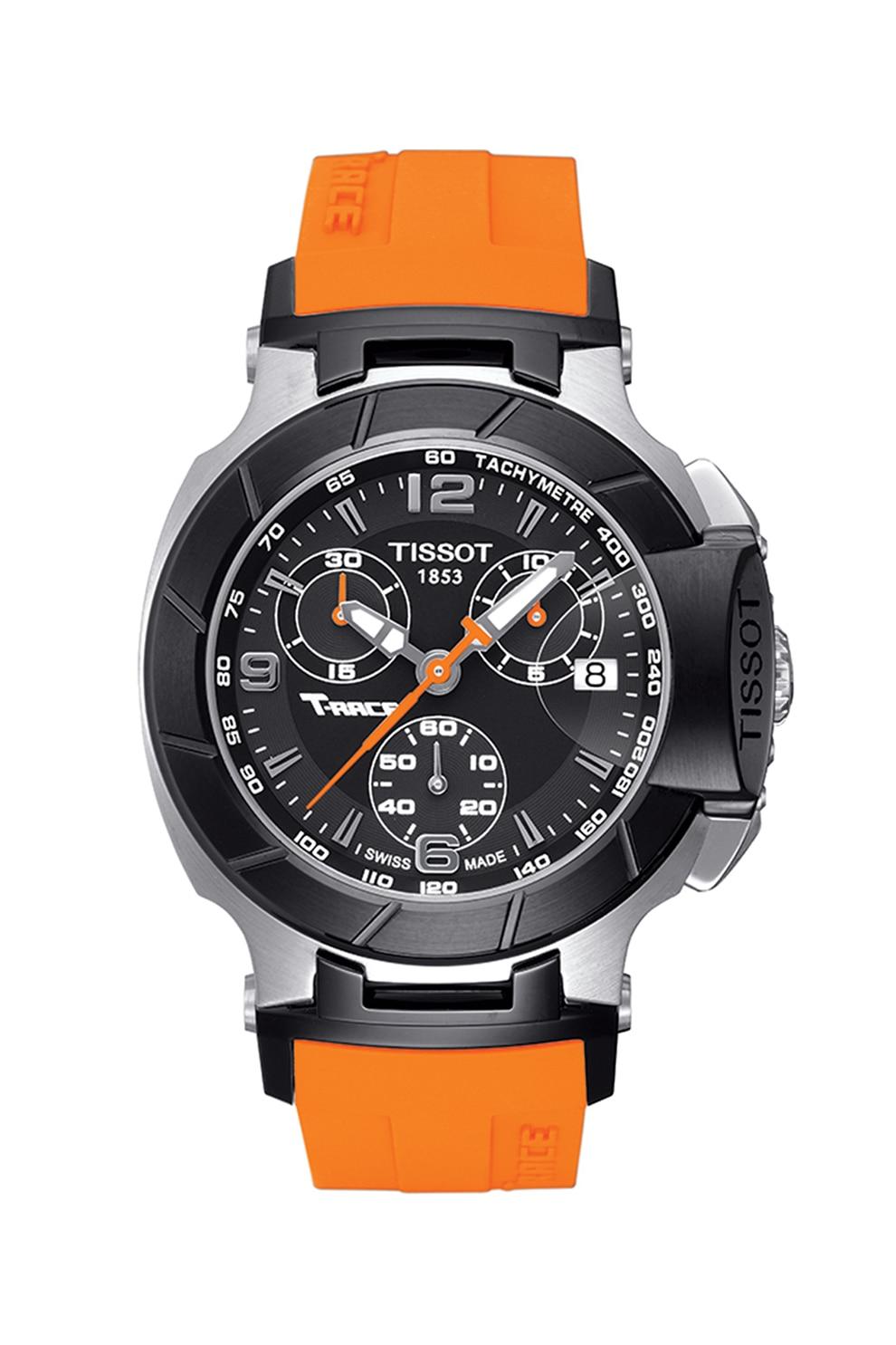 Fotografie Tissot, Ceas cronograf cu o curea din silicon, Oranj/argintiu/negru