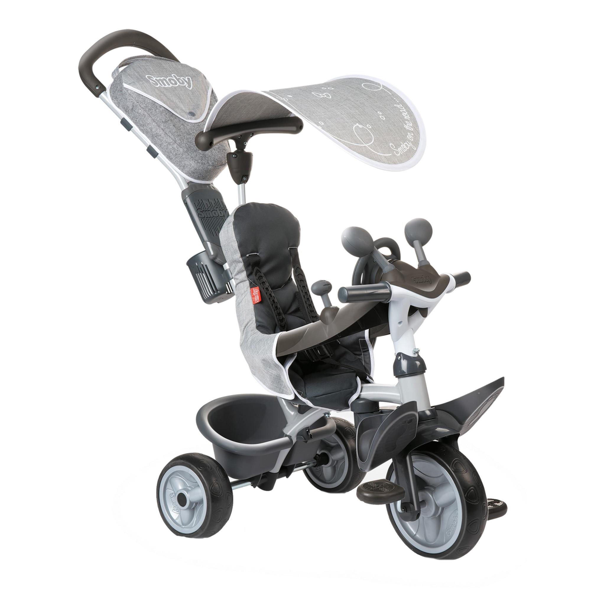 Fotografie Tricicleta Smoby Baby Driver Comfort, cu roti silentioase, Gri