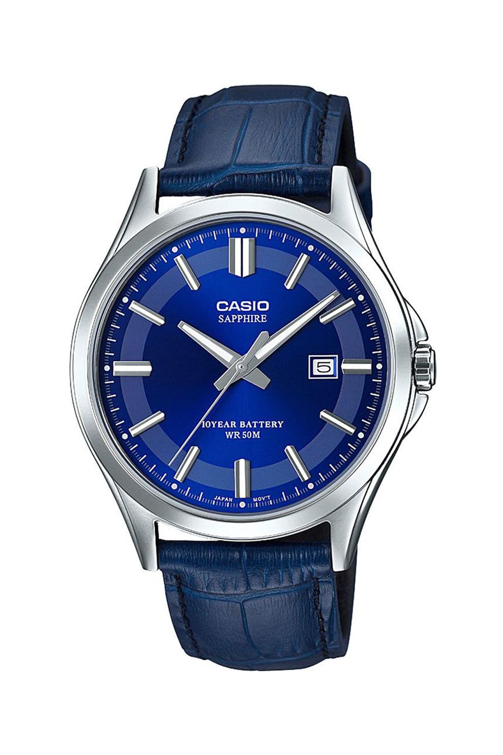 Fotografie Casio, Ceas analog cu o curea de piele, Bleumarin/Argintiu