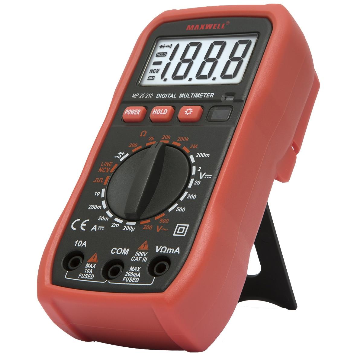 Fotografie Multimetru digital de buzunar Maxwell 25210, DC V 0.1mV - 500V, AC V 0.1V -500V, test dioda, Test continuitate