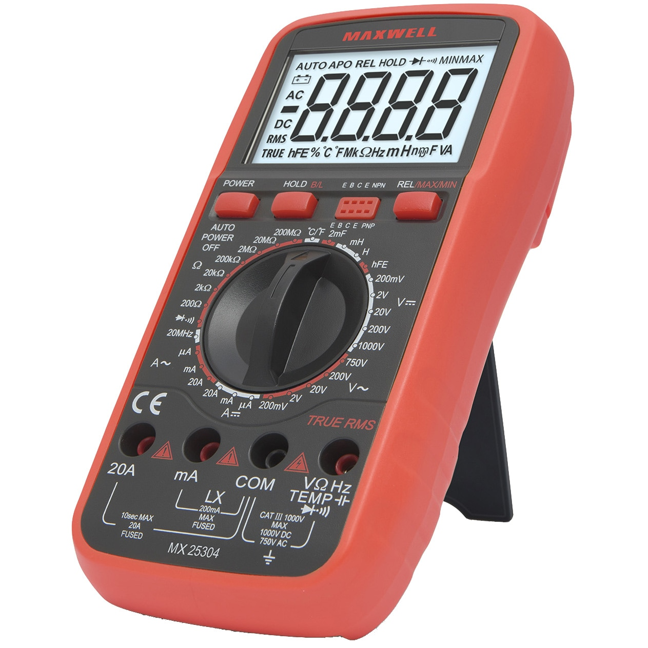 Fotografie Multimetru digital masurare inductie Maxwell 25304 True RMS, DC V 0,1mV - 1000V, AC V 0,1mV - 750V, Tester tranzistoare hFE, test dioda