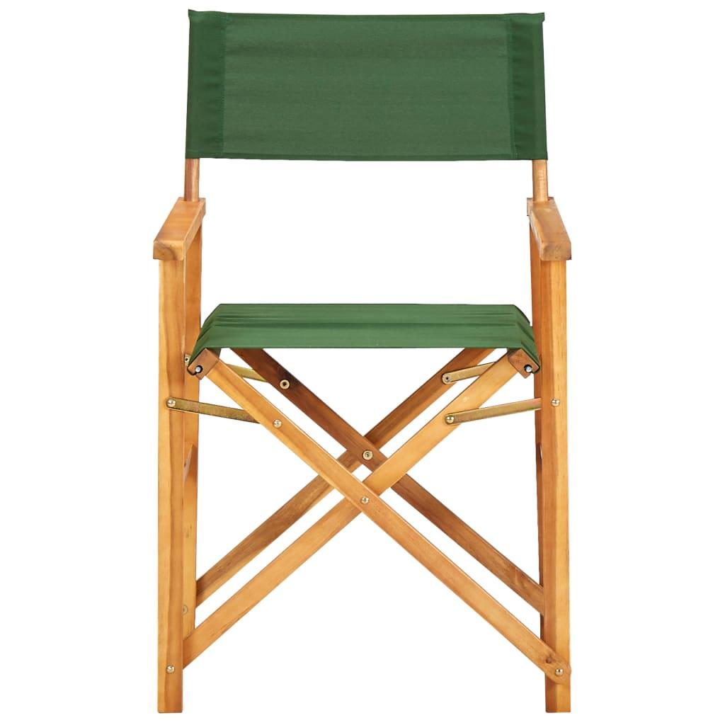 vidaXL 2 db rendezői szék, tömör akácfa, zöld